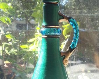 SALE Emerald Green Genie Bottle I Dream of Jeannie Hand Painted Original 1973  Jim Beam Whiskey Glass Bottle Decanter OOAK Gift