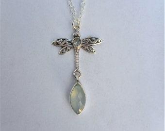 Topaz necklace, 925 silver dragonfly, blue topaz jewelry, silver dragonfly necklace,chalcedony necklaces,dragonfly jewelry,dragonfly pendant
