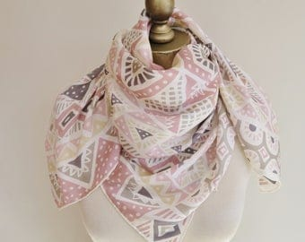 PASTEL silk scarf, Sante Fe style, hand rolled,  carre, 80s square scarf, large square scarf,  ladies headscarf. womans neckerchief