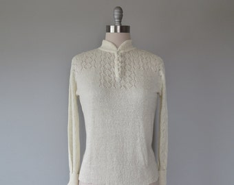 vintage 1980s cream pointelle knit sweater size large