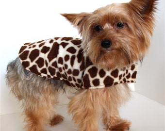 Giraffe Dog Hoodie, S small dog coat, Fleece Dogs Jacket, Designer Fashion Dog Clothing