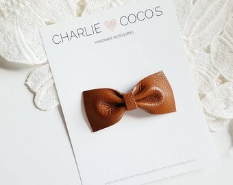 """Baby / Girls Leather Bow Headband, Leather Hair Bow Clip, Genuine Leather Baby Bows, Baby Hair Clip, Baby Leather Bow """"butterscotch"""""""