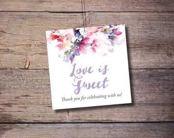 Printable Love is Sweet Thank You Tags, Favor Tags, Flowers, Floral, Wedding Favors, Printable Digital File – Jessica