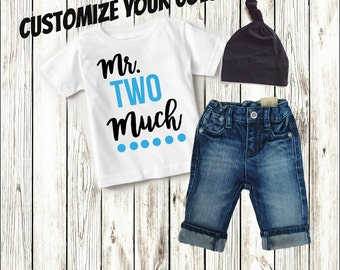 Two Year Old Boy Clothing, 2nd Birthday Shirt Clothes, 2nd Birthday Outfit Boy, Second Birthday Boy, Boy Gift, Mr Two Much - Shirt Only
