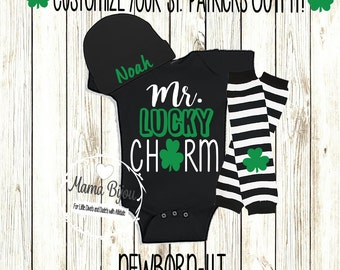 St Patricks Day Baby Boy Outfit First St Patricks Day Bow Tie Suspenders Baby Boy Clothing Clothes 2T 3T 4T Personalized Hat-BODYSUIT/SHIRT