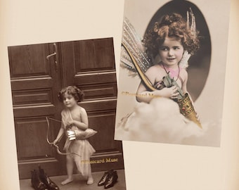 Fantasy Child As Cupid - 2 New 4x6 Vintage Postcard Image Photo Prints - AN14-43