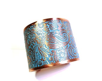 Turquoise Paisley Cuff, Paisley Bracelet, Wide Cuff Bracelet, Copper Jewelry, Ready to Ship, Turquoise Blue, Rustic Wedding Jewerly, Bride
