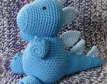 Crocheted Blue Dinosaur Stuffed Animal