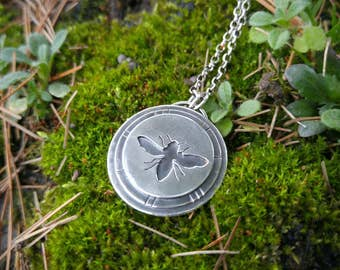 Sterling Silver Layered Honey Bee Pendant. Nature Inspired Woodland Artisan Pendant. Triple Layered Silver Bee Silhouette Textured Necklace.