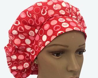 Bouffant Surgical Scrub Hat - Heart in Circles in Red Bouffant Scrub Hat - Ponytail Scrub hat - Custom Scrub Hat - Personalized Scrub hat
