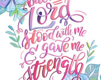 2 Timothy 4:17 Scripture Art Print - Makewells