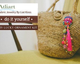 Bag Accessories, Boho Bag Charm, Tassel Keychain, Bag Keychain, Keychain Kit, Fabric Ornaments, Sewing Kit, Creative Gift Ideas, DIY Gifts
