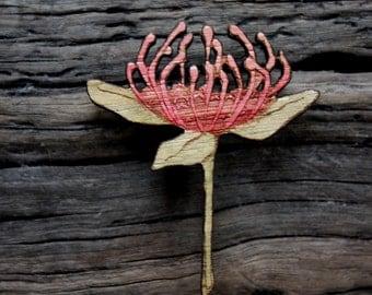 Red Waratah Wildflower Brooch, Wooden Wildflower Brooch, Australian Wild flower, Made in Australia