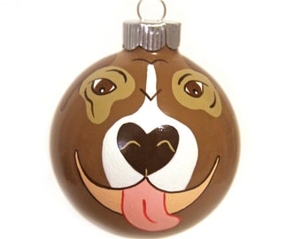 Pit Bull Ornament Hand Painted Christmas Glass Bauble MADE TO ORDER