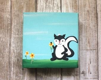 Flower Skunk Canvas 4x4 Acrylic Painting Woodland Animal Cute Nursery Decor