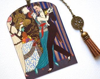 SPECIAL OFFER ! Mini Bookmark with Suede Tassel - Painting -  George Barbier - Art Deco - Handmade