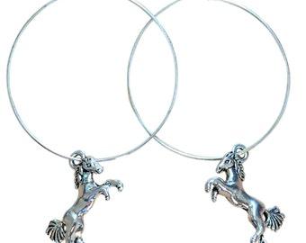 HORSE Charm HOOP EARRINGS Silver Tone Nickelfree Hoops Pony Girl