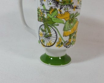 Vintage 1960's Kitschy Summer Time Mug/ Green-Yellow/ By Kathy K