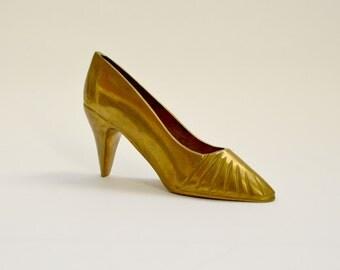 Vintage Brass Stiletto Shoe Ornament