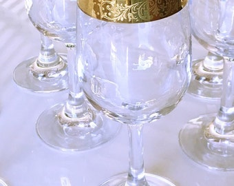Mid Century Cellini Crystal Stemware, 24k Encrusted Gold etched grapevine, 8 wine goblets toasting glasses blown barware formal stemware