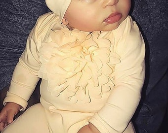 Peach Infant Layette Cotton Baby Romper with Large Chiffon On The Chest and Matching Hat