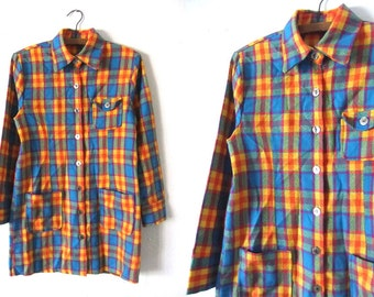 Bright Plaid Flannel Shirt Dress - Mod Preppy Soft Tartan Smock Dress - Button Down Long Sleeve Tunic Dress - Womens Medium