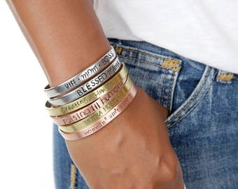 Gifts for Mom | Mother's Day Custom Cuffs | Mommin' Ain't Easy Cuff | Engraved Cuffs Expressions Bracelets