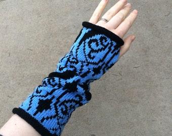 Pokémon Teams Waving Brocade Pattern Knitted Arm Warmers- Mystic, Blue