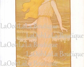 1899 Greek Goddess Digital Print La Vague Paul Berthon Grecian Gaia Art Nouveau Aphrodite Blonde Athena Hera Printable Download Cards Image