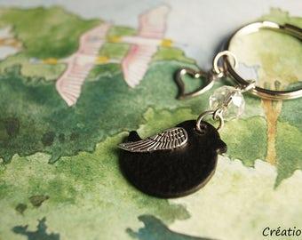 Bird keyring,bird keychain,bird,bird art,black,heart,handmade,unique,bird art,gift,mother,sister,friend,nature,summer,outside,spring