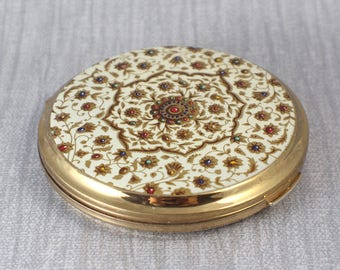 White and Red Printed Top Gold Brass Tone Round Powder Compact with Internal Mirror by Stratton