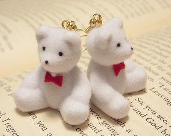 White Teddy Bear Earrings