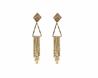 L I N E A G E >> Fringe Earrings // Brass earrings / sterling silver earrings / southwestern earrings / stamped earrings / fringe earrings