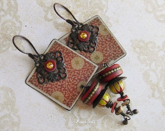 Bohemian earrings-look vintage-nomadic spirit-Asian style-rustic earrings-ethnic earrings-bohemian look-ivory-red coral-yellow