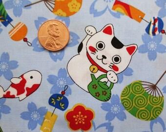 Maneki Neko Cotton Fabric - Sky Blue - Fat Quarter