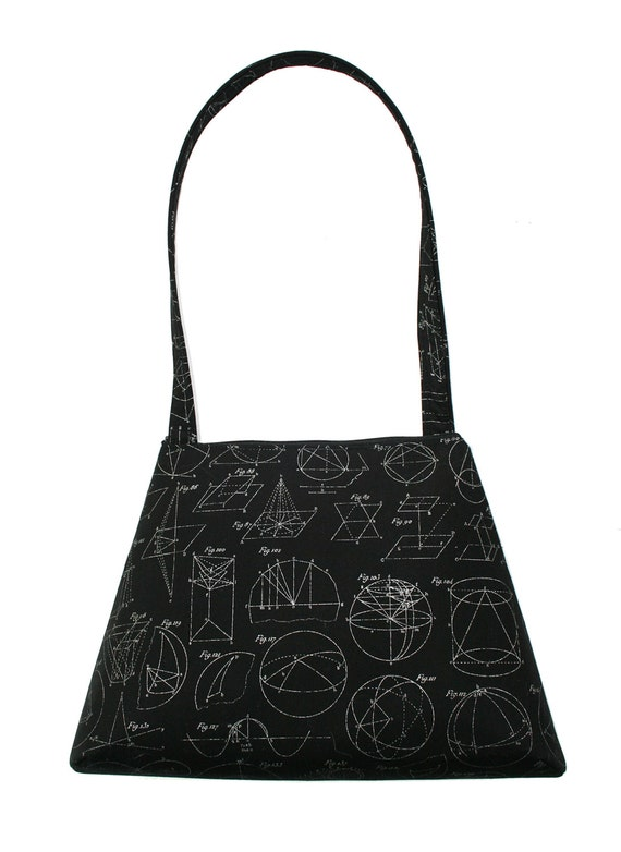 Geometry, black, metallic silver, math, retro style, tall Retro