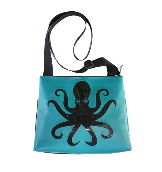 Octopus, black, blue vinyl, glitter vinyl, vegan, vegan leather, large, cross body bag