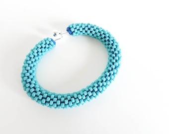 Turquoise Bracelet // Cuff Bracelet // Beaded Bracelet // Crochet Rope Bracelet // Rope Bracelet // Gift fo her //