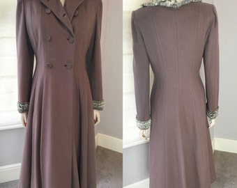 1940s double breasted wool felt princess winter coat sizes S/M
