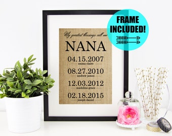 FRAME INCLUDED! Personalized Nana Gift | Mother's Day Gift for Grandmother | Grandma Gift Wall Art | My Greatest Blessings Call Me Nana
