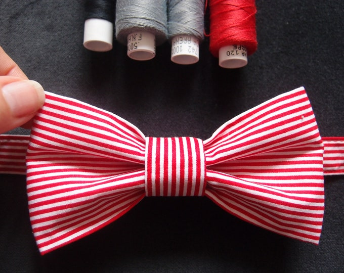 Red White Bow tie, Striped Bow tie, Unisex Bowtie, Cotton Adjustable Bow tie, Bow ties and Suspenders, Ladies Bow tie, Mens bow tie