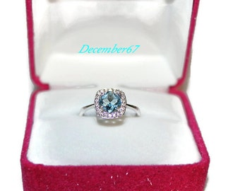 Blue Topaz Ring, Halo Ring, Anniversary Ring, Sky Blue Topaz Ring, December Birthstone, Pave Ring