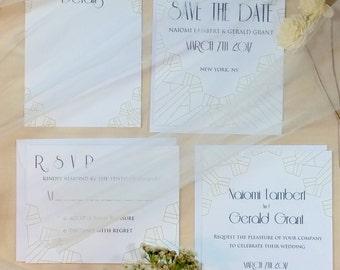 Modern Vintage wedding invitation suite-White, art deco wedding invitation suite, vintage invitation suite