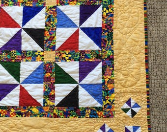 Rich Red Blue Purple Yellow Green Jewel Tone Pinwheel Lap or Baby Quilt