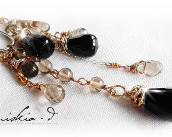 Gemstone Dangle Pendant Necklace Onyx Wrapped Pendant Necklace Smoky Quartz Necklace Sterling Silver Chain Gold Filled Beaded Necklace