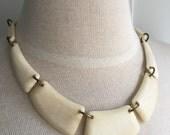 Vintage Bib Necklace, 1940s Statement Necklace, Vintage Necklace, Ivory Necklace, Celluloid Necklace, Modern Wearable Vintage Cream Necklace