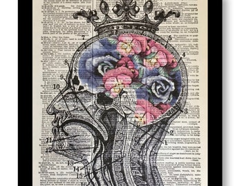 Anatomical Head with Flowers, Floral Head, Crown Steampunk, Mixed Media on 8x10 Vintage Dictionary page, Dictionary art, Dictionary print