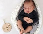 SCRIPT TYPE - Customized Baby Plaque - Nursery Decor - Wood - Newborn Gift - Photography Props