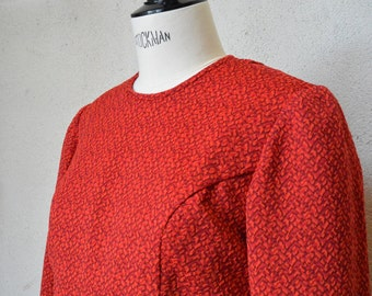 Red sleeves dress long T40 VINTAGE 80's