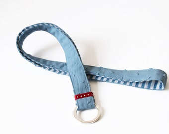 Long blue fabric Lanyard, key chain, light blue dotted, dots, handmade lanyards, striped, maritime, blue white red